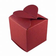 Wine Red Heart Top Designer Favour Boxes